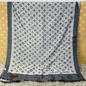 Louis Vuitton Accessories - Louis Vuitton Silver Grey Lightweight Wool Scarf